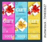 gift voucher card vertical set... | Shutterstock .eps vector #704833627