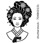 portrait of the young korean... | Shutterstock .eps vector #704843131