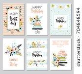 happy birthday and invitation... | Shutterstock .eps vector #704848594