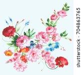 graceful flowers  the leaves... | Shutterstock . vector #704863765