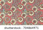 psychedelic floral doodle... | Shutterstock . vector #704864971