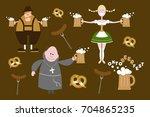 set of flat oktoberfest... | Shutterstock .eps vector #704865235