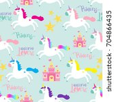 cute princess seamless pattern... | Shutterstock .eps vector #704866435