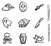 horror icons freehand | Shutterstock .eps vector #704868277