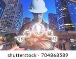 double exposure of engineer or... | Shutterstock . vector #704868589