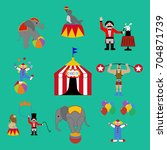 circus set on the green... | Shutterstock . vector #704871739