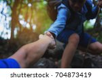 the image of a tourist helping... | Shutterstock . vector #704873419