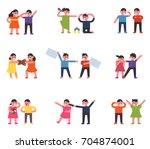 children fighting with friends... | Shutterstock .eps vector #704874001