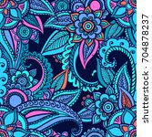 floral seamless pattern. doodle ... | Shutterstock .eps vector #704878237
