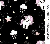pattern cute unicorn and star... | Shutterstock .eps vector #704892229