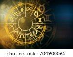 zodial sign horoscope cirlce on ... | Shutterstock . vector #704900065