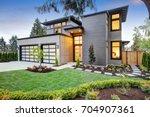 luxurious new construction home ... | Shutterstock . vector #704907361