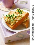 Small photo of Crab salad sandwich with aioli..selective focus