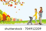 walking family with baby... | Shutterstock .eps vector #704912209