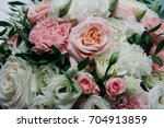 floral background of chic roses ... | Shutterstock . vector #704913859