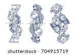 set of astronauts characters.... | Shutterstock .eps vector #704915719
