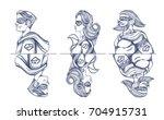 set of superhero characters.... | Shutterstock .eps vector #704915731