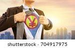 businessman in superhero... | Shutterstock . vector #704917975