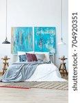 contemporary master bedroom... | Shutterstock . vector #704920351