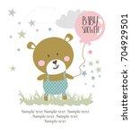 baby shower card | Shutterstock .eps vector #704929501