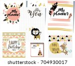 template for notebook and... | Shutterstock .eps vector #704930017