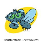funny fly cartoon hand drawn... | Shutterstock .eps vector #704932894