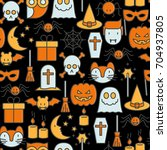 cartoon halloween seamless... | Shutterstock .eps vector #704937805