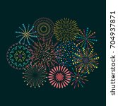 firework icon set with petard ... | Shutterstock .eps vector #704937871