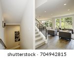 hallway features white ceiling... | Shutterstock . vector #704942815