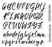 hand drawn dry brush font.... | Shutterstock .eps vector #704948344