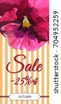 autumn sale card.colorful pansy ... | Shutterstock .eps vector #704952259