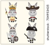 set isolated donkey in cartoon... | Shutterstock .eps vector #704953435