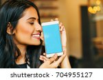 smartphone template  young...   Shutterstock . vector #704955127