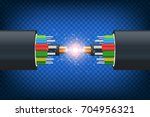 fiber optical cable.... | Shutterstock .eps vector #704956321