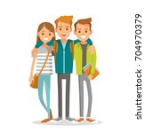 young people hugging | Shutterstock .eps vector #704970379