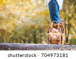 close up backpack of woman... | Shutterstock . vector #704973181