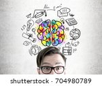 close up of an astonished young ... | Shutterstock . vector #704980789