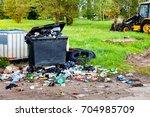 garbage waste in park full of... | Shutterstock . vector #704985709