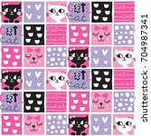 seamless cute cat pattern... | Shutterstock .eps vector #704987341