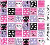 seamless cute cat pattern... | Shutterstock .eps vector #704987341