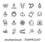 premium set of christmas line... | Shutterstock .eps vector #704992147