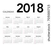 calendar 2018. week starts from ... | Shutterstock .eps vector #705000715
