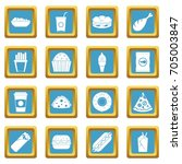 fast food icons set in azur... | Shutterstock .eps vector #705003847