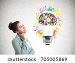 portrait of a pensive african... | Shutterstock . vector #705005869