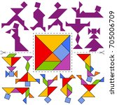 vector tangram puzzle people... | Shutterstock .eps vector #705006709