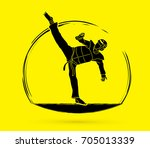 taekwondo kick action with... | Shutterstock .eps vector #705013339
