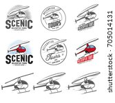 set of retro helicopter related ... | Shutterstock .eps vector #705014131