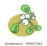 mistletoe cartoon hand drawn... | Shutterstock .eps vector #705017461