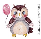 Watercolor Hand Drawn Owl With...