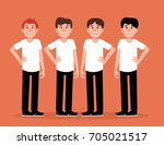 group of men people a happy.... | Shutterstock .eps vector #705021517